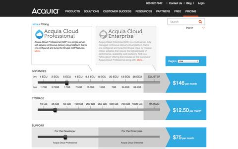 Screenshot of Pricing Page acquia.com - Acquia Cloud Subscription Pricing | Acquia - captured Oct. 28, 2014