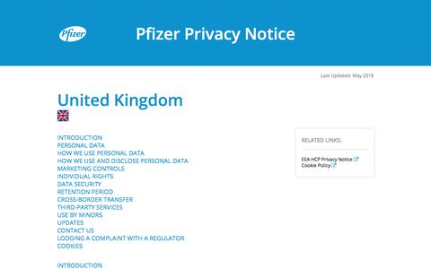 Screenshot of Privacy Page pfizer.com - United Kingdom | Pfizer Privacy Notice - captured June 29, 2018