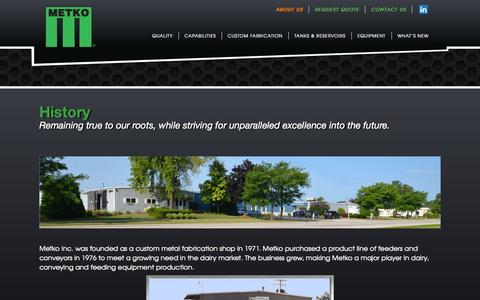 Screenshot of About Page metko.com - History | Metko Inc. - captured Nov. 3, 2014