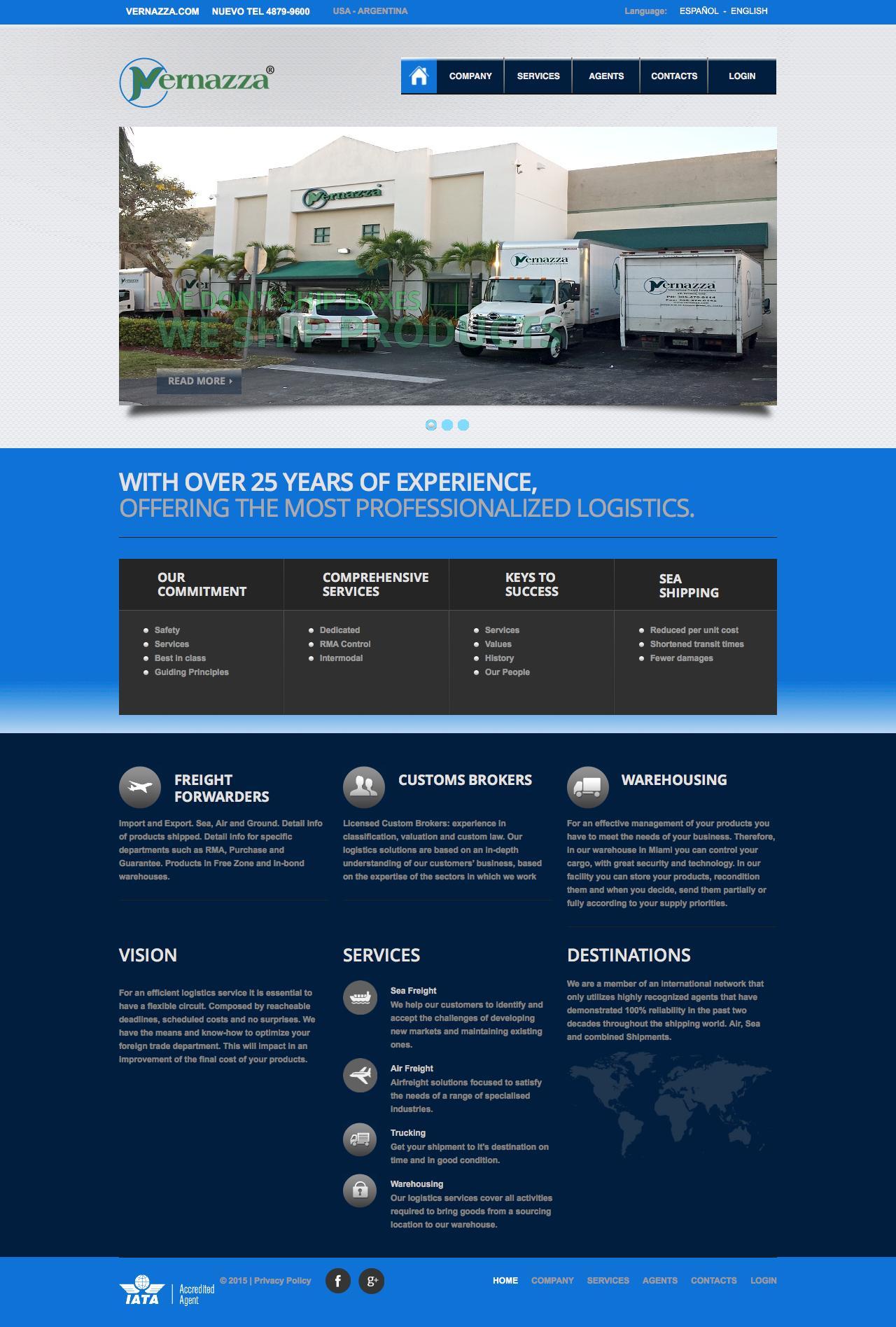 Screenshot of vernazza.com - Vernazza - International Logistics - Home - captured Dec. 19, 2016
