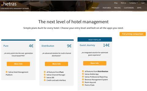 Screenshot of Pricing Page hetras.com - hetras Pricing - hetras - Cloud Based Hotel Management - captured Nov. 16, 2016