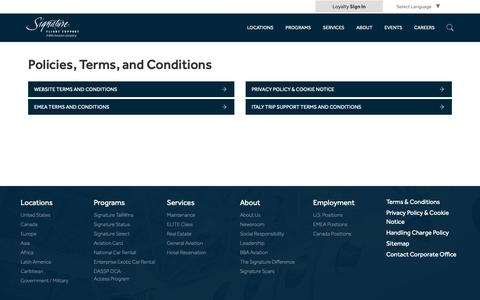 Screenshot of Terms Page signatureflight.com - Signature Flight Support | Policies, Terms, and Conditions - captured March 3, 2019