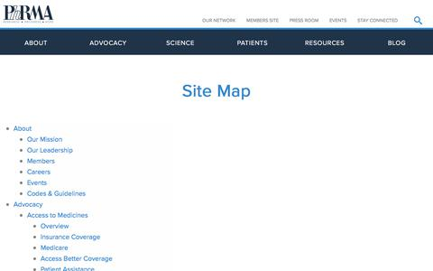 Screenshot of Site Map Page phrma.org - Site Map | PhRMA - captured Sept. 6, 2019