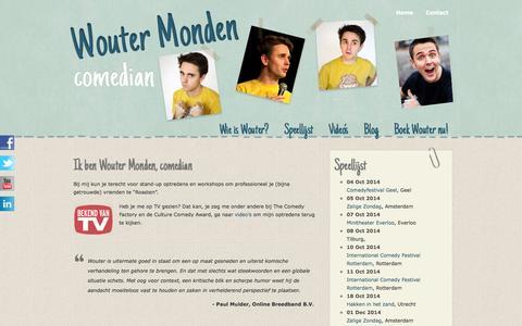Screenshot of Home Page woutermonden.nl - Wouter Monden – Comedian - captured Sept. 30, 2014