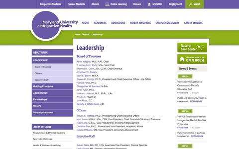 Screenshot of Team Page muih.edu - Leadership | MUIH - captured Sept. 22, 2018