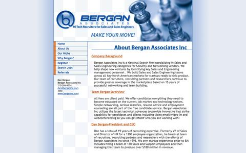 Screenshot of About Page berganinc.com - Bergan Associates - Our Background in Recruiting and Sales Engineering Search - captured Oct. 5, 2014