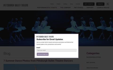 Screenshot of Blog pbt.org - Pittsburgh Ballet Theatre Blog - captured Sept. 28, 2018
