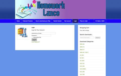 Screenshot of Login Page homeworklance.com - Login - Homework Lance Online Homework Help - captured July 21, 2018