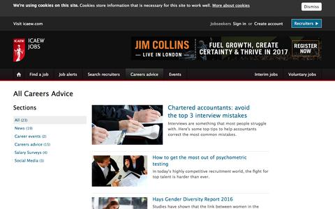 Screenshot of Jobs Page icaewjobs.com - Articles and careers information on ICAEWJobs - captured Jan. 4, 2017