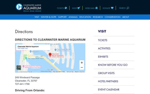 Screenshot of Maps & Directions Page seewinter.com - Directions | Clearwater Marine Aquarium - captured Sept. 29, 2019