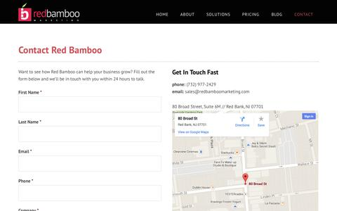 Screenshot of Contact Page bamboointeractive.com - Contact Red Bamboo Marketing | Red Bank NJ Marketing Agency - captured Sept. 30, 2014