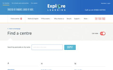 Screenshot of Locations Page explorelearning.co.uk - Browse a list of our tuition centres - Explore Learning - captured April 8, 2018