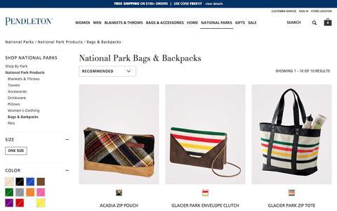 Screenshot of pendleton-usa.com - Bags & Backpacks | National Parks National Park Products | Pendleton - captured Oct. 22, 2017