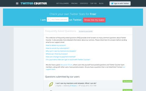 Screenshot of FAQ Page twittercounter.com - Frequently Asked Questions | Twitter Counter - captured Sept. 18, 2014