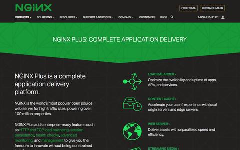 Screenshot of Products Page nginx.com - NGINX Plus: Complete Application Delivery Platform - captured Nov. 17, 2015
