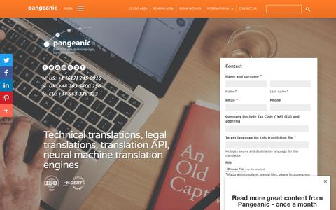 Screenshot of Home Page pangeanic.com - Pangeanic: Global Translation Company | Translation Services - captured June 28, 2019