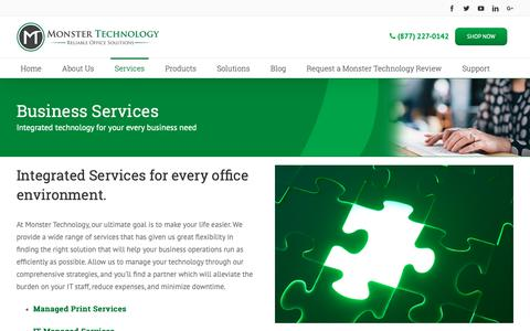 Screenshot of Services Page monstertechnology.net - Business Services Los Angeles | Monster Technology - captured Oct. 18, 2018