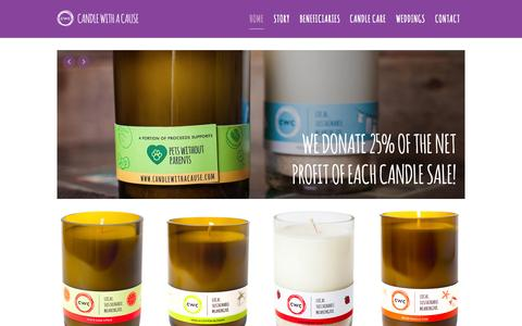 Screenshot of Home Page candlewithacause.com - Candle With A Cause - Local, Sustainable, Meaningful - captured July 19, 2015