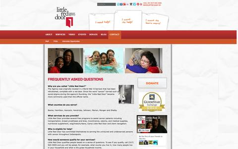 Screenshot of FAQ Page littlereddoor.org - Frequently Asked Questions | Little Red Door Cancer Agency - captured Jan. 30, 2016