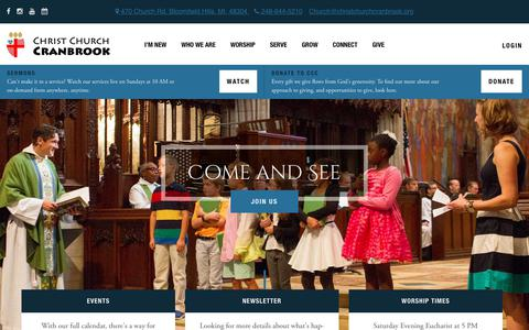 Screenshot of Home Page christchurchcranbrook.org - Home - Christ Church Cranbrook | Episcopal Church in Michigan - captured July 17, 2018