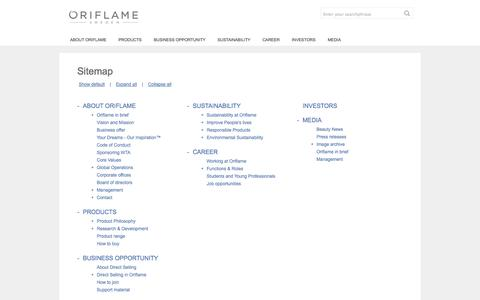 Screenshot of Site Map Page oriflame.com - Oriflame Cosmetics - SITEMAP - captured Oct. 26, 2014
