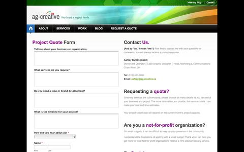 Screenshot of Contact Page ag-creative.ca - ag-creative | Design & Communication: Requesting a Quote! - captured Sept. 30, 2014