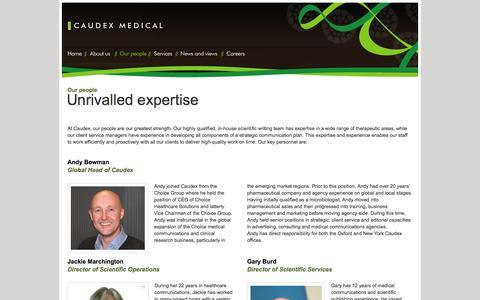 Screenshot of Team Page caudex.com - Caudex Medical - Our People - captured Oct. 2, 2014