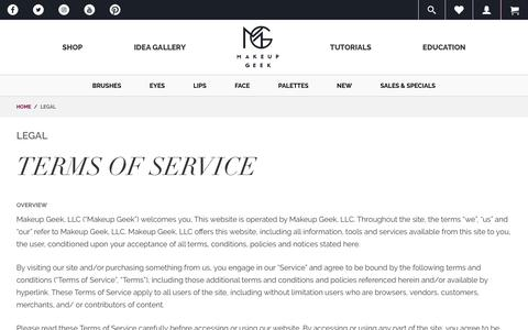Screenshot of Terms Page makeupgeek.com - Legal  - Makeup Geek - captured Nov. 5, 2017