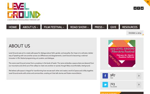 Screenshot of About Page onlevelground.org - ABOUT US   Level Ground - captured Oct. 2, 2014