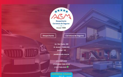 Screenshot of Home Page acmds.com.br - ACM Despachante e Corretora de Seguros - ACMDS - Jundiaí / SP - captured Oct. 2, 2018