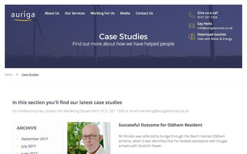 Screenshot of Case Studies Page aurigaservices.co.uk - Case Studies - Auriga Services - captured Oct. 9, 2017