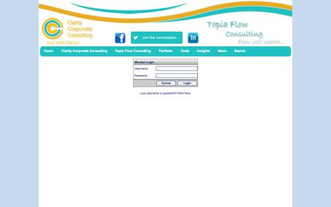 Screenshot of Login Page topiaflow.com - soarwithclarity.com, topiaflow.com, clarity corporate consulting, gwen harmen, small business consultant, success coach, soar with clarity and flow into wealth - captured Oct. 7, 2014