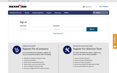 Screenshot of Login Page rexnord.com - Sign In-Rexnord - captured Oct. 20, 2018