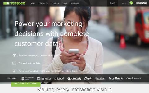 Screenshot of Home Page freespee.com - The single phone call data platform - Freespee - captured Oct. 2, 2015