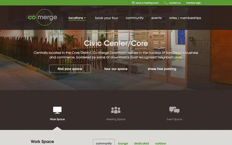 Screenshot of Locations Page co-merge.com - San Diego Shared Office Space, Coworking, Conference Rooms - captured Nov. 2, 2014