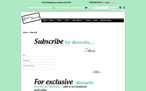Screenshot of Signup Page gwensblends.com - Sign-Up for Discounts! - captured Oct. 3, 2014