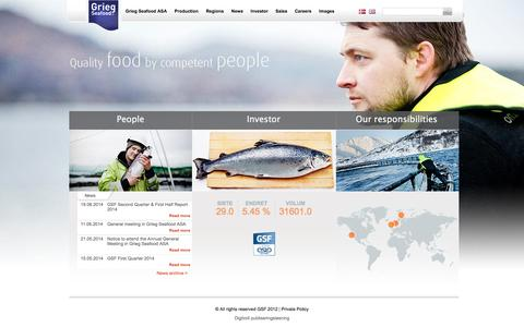 Screenshot of Home Page griegseafood.no - People - Grieg Seafood ASA - Engelsk - captured Oct. 3, 2014