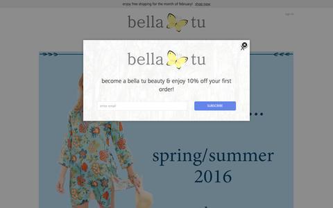 Screenshot of Home Page bella-tu.com - Women's Tunics, Dresses, Tops & Resort Wear - captured Feb. 2, 2016
