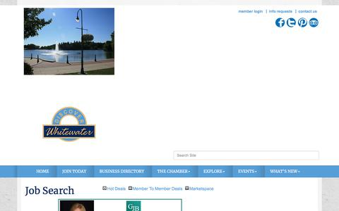 Screenshot of Jobs Page whitewaterchamber.com - Job Search - Whitewater Chamber of Commerce, WI - captured July 1, 2018