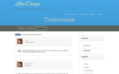 Screenshot of Testimonials Page lkn-design.com - Testimonials - Lk'n Design | Lk'n Design - captured Sept. 26, 2014