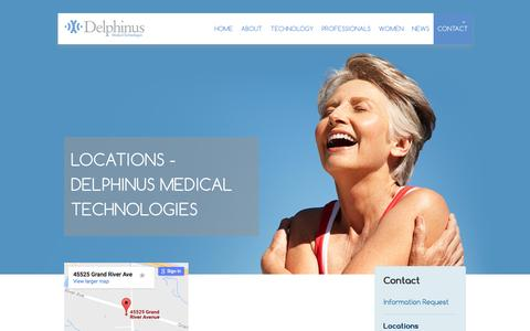 Screenshot of Locations Page delphinusmt.com - Locations - Delphinus Medical Technologies Delphinus Medical Technologies - captured Nov. 24, 2016
