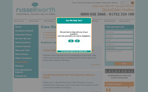 Screenshot of Case Studies Page russellworthsolicitors.co.uk - Case Studies - - captured Jan. 11, 2016