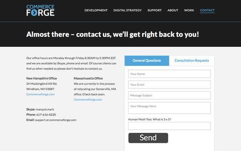 Screenshot of Contact Page commerceforge.com - Contact Information - Commerce Forge - captured July 20, 2018