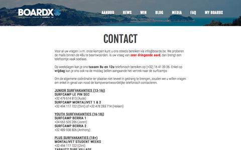 Screenshot of Contact Page boardx.be - Contact - Boardx - captured Aug. 3, 2018