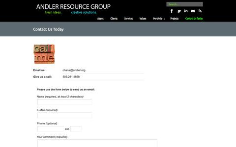 Screenshot of Contact Page andler.org - Contact Us Today «  Andler Resource Group - captured Oct. 4, 2014