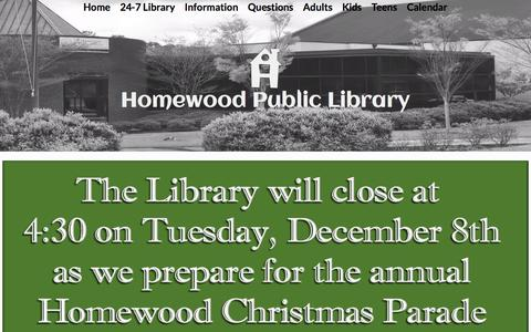 Screenshot of Home Page homewoodpubliclibrary.org - Home - Homewood Public Library - captured Dec. 5, 2015