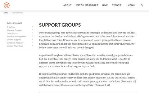 Screenshot of Support Page westsidechurch.org - Westside Church in Bend, Oregon | Life. Love. Jesus. - captured Nov. 28, 2018