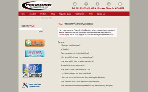 Screenshot of FAQ Page 1stimpressions.com - Vehicle Wrap FAQs |1st Impressions Truck Lettering - captured Oct. 26, 2017