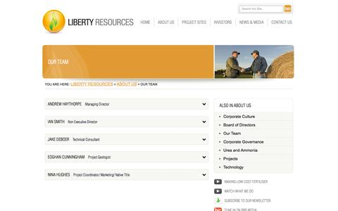 Screenshot of Team Page libertyresources.com.au - Liberty Resources  – Our Team - captured Oct. 2, 2014