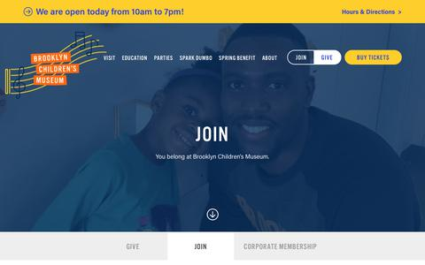 Screenshot of Signup Page brooklynkids.org - Join - Brooklyn Children's Museum - captured Sept. 22, 2018